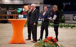 Cor Loeffen, NED, Van Der Schans Wout Jan, NED, Klompmaker Hester, NED, Versteeg Wim, NED<br /> KWPN Stallionshow - 's Hertogenbosch 2018<br /> © Hippo Foto - Dirk Caremans<br /> 31/01/2018