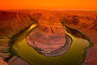 Overview of Horseshoe Bend on the Colorado River at sunrise, near Page, Arizona USA