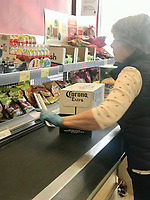 People out doing food shoping  aldi Stratford-upon-Avon photo by Mark Anton Smith