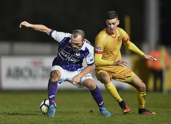 January 10, 2018 - Tubize, BELGIUM - Beerschot's Erwin Jimmy Hoffer and Tubize's Maxence Carlier fight for the ball during a soccer game between AFC Tubize and Beerschot-Wilrijk, in Tubize, Wednesday 10 January 2018, on day 19 of the division 1B Proximus League competition of the Belgian soccer championship. The game was postponed because of bad weather conditions on December 10th. BELGA PHOTO JOHN THYS (Credit Image: © John Thys/Belga via ZUMA Press)