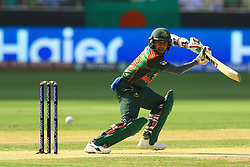 September 28, 2018 - Dubai, United Arab Emirates - Bangladesh cricketer Mehidy Hasan Miraz plays a shot  during the final cricket match of Asia Cup 2018  between India and Bangladesh at Dubai International cricket stadium,Dubai, United Arab Emirates. 09-28-2018  (Credit Image: © Tharaka Basnayaka/NurPhoto/ZUMA Press)