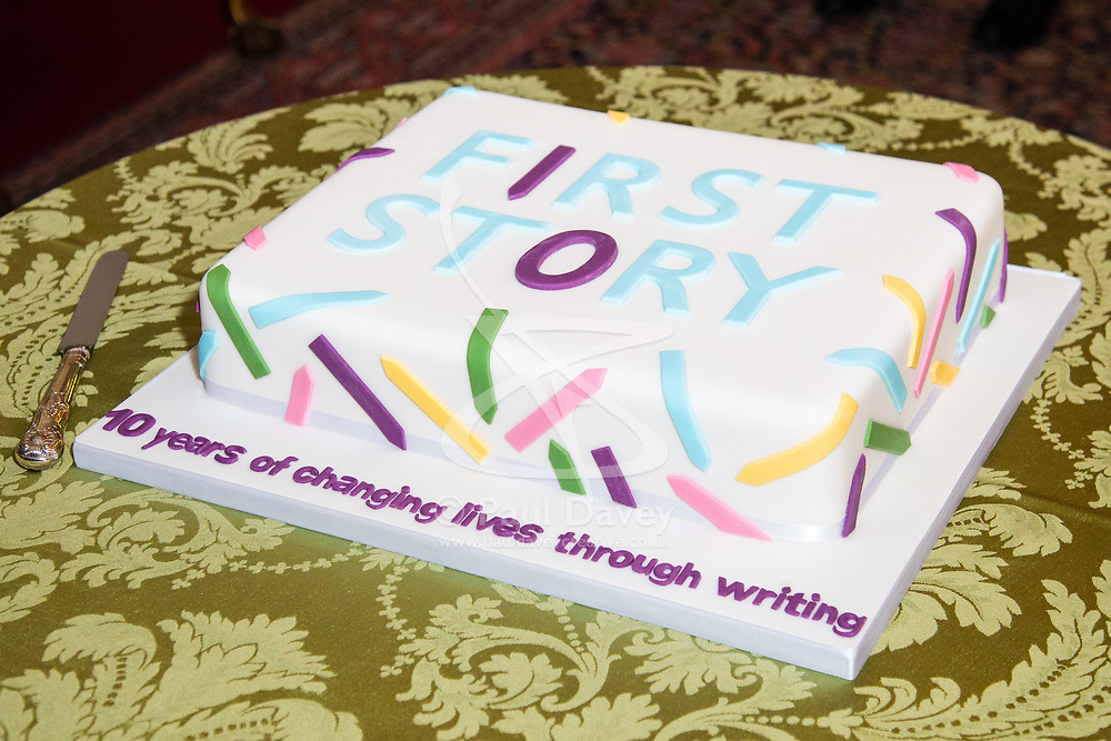 Her Royal Highness Camilla the Duchess of Cornwall hosts a reception at Clarence House to mark the tenth anniversary of First story, an initiative to encourage writing in especially among those from deprived backgrounds in schools across the country PICTURED:  The celebratory cake cut by Camilla, Duchess of Cornwall. London, July 10 2018.
