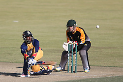 Mangaliso Mosehle of Gauteng sweeps a delivery during the Africa T20 cup pool D match between Boland and Gauteng held at the Boland Park cricket ground in Paarl on the 25th September 2016.<br /> <br /> Photo by: Shaun Roy/ RealTime Images
