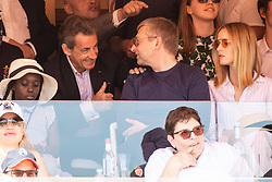 Nicolas Sarkozy and Valeria Bruni-Tedeschi's daughter Celine Garrel attend the match Rafael Nadal vs Grigor Dimitrov (6-4, 6-1) during the Monte Carlo Rolex Masters at the Country Club of Monaco. In the photo Sarkozy is with Dmitrij Rybolovlev. Monaco on april 21th, 2018. Photo by ABACAPRESS.COM