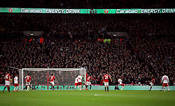 """Manchester United's Jesse Lingard shoots during the EFL Cup Final at Wembley Stadium, London. PRESS ASSOCIATION Photo. Picture date: Sunday February 26, 2017. See PA story SOCCER Final. Photo credit should read: Nick Potts/PA Wire. RESTRICTIONS: EDITORIAL USE ONLY No use with unauthorised audio, video, data, fixture lists, club/league logos or """"live"""" services. Online in-match use limited to 75 images, no video emulation. No use in betting, games or single club/league/player publications."""