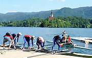 Bled, SLOVENIA, General View, GV athletes, GBR LM4-.  boating for  a training session.  1st FISA World Cup, on Lake Bled. Island, Thursday  27/05/2010  [Mandatory Credit Peter Spurrier/ Intersport Images]