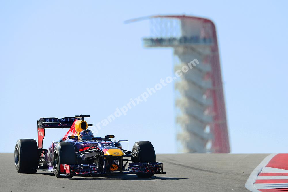 Sebastian Vettel (Red Bull-Renault) during practice for the 2013 United States Grand Prix in Austin, Texas. Photo: Grand Prix Photo