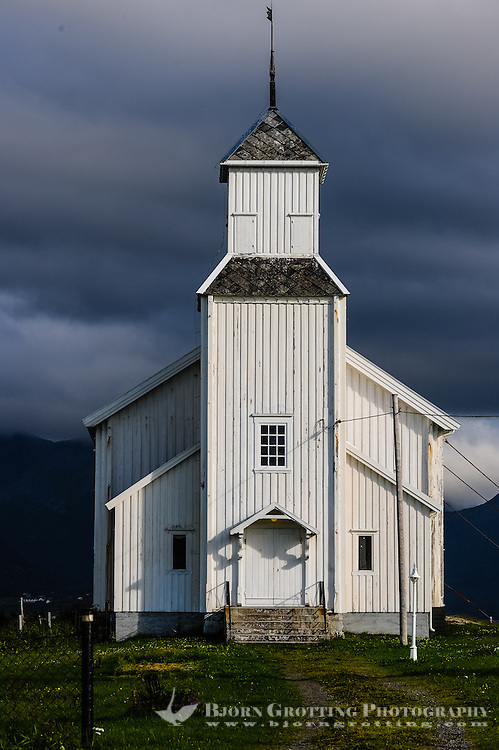 Norway, Lofoten. Gimsøy church is a wooden church from 1876. It is secured with strong wires for wind protection.