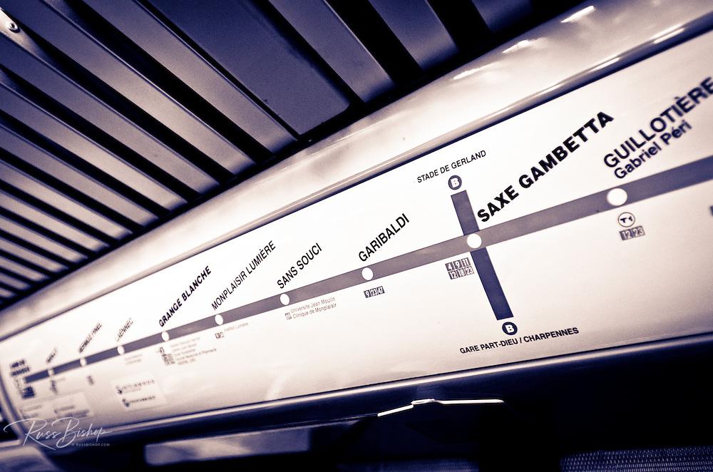 Metro route sign, Lyon, France