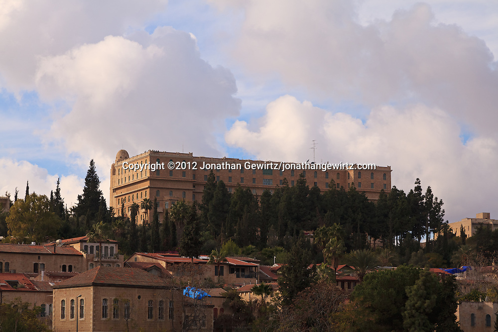 TheKing David hotel and YMCA tower stand over the buildings of Yemin Moshe in Jerusalem. WATERMARKS WILL NOT APPEAR ON PRINTS OR LICENSED IMAGES.