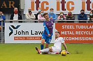 Cove Rangers' Ian Vigurs (16) and Inverness Caledonian Thistle's Roddy MacGregor (12) battles for possession, tussles, tackles, challenges, during the Premier Sports Scottish League Cup match between Cove Rangers and Inverness CT at Balmoral Stadium, Aberdeen, Scotland on 20 July 2021.