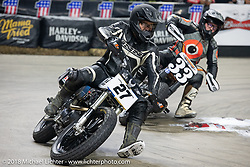 Joshua Young races into turn one at the Flat Out Friday flat track racing on the Dr. Pepper-covered track in the UW-Milwaukee Panther Arena during the Harley-Davidson 115th Anniversary Celebration event. Milwaukee, WI. USA. Friday August 31, 2018. Photography ©2018 Michael Lichter.