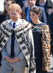 The Duke and Duchess of Sussex wear traditional Maori cloaks called Korowai during a visit to Te Papaiouru, Ohinemutu, in Rotorua, before a lunch in honour of Harry and Meghan, on day four of the royal couple's tour of New Zealand.