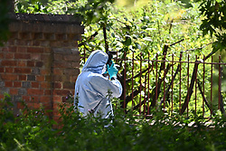 © Licensed to London News Pictures. 22/06/2020. Reading, UK. Police forensics working at Forbury Gardens in Reading town centre where three people were stabbed to death in a terrorist attack. Several other people were injured in the attack which was carried out by Libyan asylum seeker Khairi Saadallah, who is currently in custody. . Photo credit: Ben Cawthra/LNP