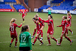 BIRKENHEAD, ENGLAND - Sunday, March 14, 2021: Liverpool's captain Niamh Fahey (#5) celebrates with team-mates after scoring the fifth goal during the FA Women's Championship game between Liverpool FC Women and Coventry United Ladies FC at Prenton Park. Liverpool won 5-0. (Pic by David Rawcliffe/Propaganda)
