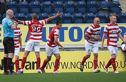 Hamilton's Mickeal Antoine-Curier cele scoring their first goal.<br /> Falkirk 1 v 2 Hamilton, Scottish Championship 31/8/2013.<br /> ©Michael Schofield.