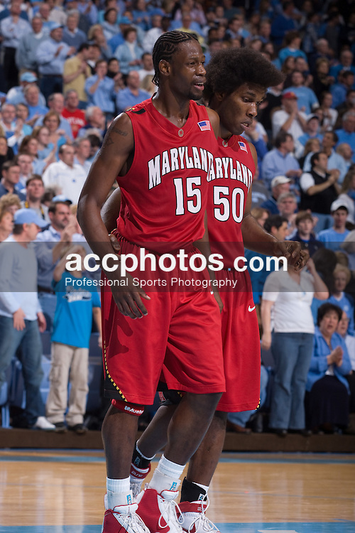 19 January 2008: Maryland Terrapins forward James Gist (15) during a 93-84 win over the North Carolina Tar Heels at the Dean Smith Center in Chapel Hill, NC.