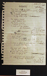 (c) London News Pictures. 06/12/2010. Pictured: A set of original handwritten lyrics and chord progression for 'Andromeda' penned by Paul Weller Lyrics penned by famous songwriters including Sir Paul McCartney, Gary Barlow, Paul Weller and Annie Lennox go on display before the Bonhams' Entertainment Memorabilia Auction on the 15th December with proceeds going to the Teenage Cancer Trust.  Picture caption should read Will Oliver/London News Pictures...
