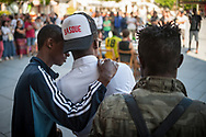 Some African migrants attend a press conference convened by the hosting network of Irun to ask for a dignified and comprehensive reception for migrants in transit. Irun (Basque Country). Sptember 1, 2018. A group of volunteers have created a hosting network for migrants in transit who have already completed the 5-day period that can remain in public resources. This group of volunteers is avoiding a serious humanitarian problem Irún, the Basque municipality on the border with Hendaye. As the number of migrants arriving on the coasts of southern Spain incresead, more and more migrants are heading north to the border city of Irun. (Gari Garaialde / Bostok Photo).