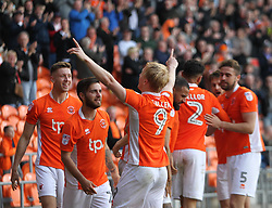 Mark Cullen of Blackpool (C) celebrates scoring his sides second goal - Mandatory by-line: Jack Phillips/JMP - 14/05/2017 - FOOTBALL - Bloomfield Road - Blackpool, England - Blackpool v Luton Town - Football League 2 Play-off Semi Final Leg 1
