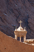 Bell tower, Built in 1871 contains nine bells of different sizes that were a gift of the Czars of Russia.<br /> Saint Catherine's Monastery (also known as Santa Katarina), Mount Sinai, Egypt. The monastery is Orthodox and is a UNESCO World Heritage Site. Built between 548 and 565, the monastery is one of the oldest working Christian monasteries in the world. A Fatimid mosque was built within the walls of the monastery, but it has never been used since it is not correctly oriented towards Mecca.
