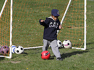 Middletown, New York  - A child practices soccer during a program at the Middletown YMCA on April 14, 2012.