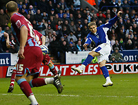 Photo: Steve Bond/Richard Lane Photography. Leicester City v Scunthorpe United. Coca Cola Championship. 13/02/2010. Martyn Waghorn scores no4 with a sweet volley