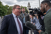 Conservative MP, and Brexiter, Mark Francois being interviewed outside Houses of Parliament on the first day after summer recess on 3rd September 2019 in London in the United Kingdom. MPs return to Westminster for a Brexit shutdown that could result in a general election.