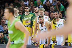 Jonas VALANCIUNAS and Mantas KALNIETIS  of Lithuania  during friendly match between National Teams of Slovenia and Lithuania before World Championship Spain 2014 on August 18, 2014 in Kaunas, Lithuania. Photo by Robertas Dackus / Sportida.com