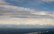 Aerial view of the Alaska Range and the Chulitna amd Susitna Rivers near Talkeetna, Alaska.