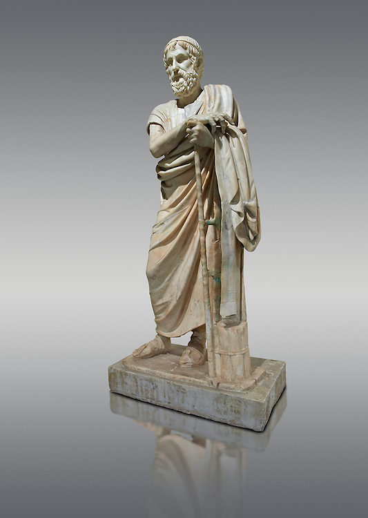 Roman marble sculpture of Homer from the rectangular peristyle of the Villa of the Papyri in Herculaneum, Naples Museum of Archaeology, Italy.<br /> <br /> If you prefer to buy from our ALAMY STOCK LIBRARY page at https://www.alamy.com/portfolio/paul-williams-funkystock/greco-roman-sculptures.html . Type -    Naples    - into LOWER SEARCH WITHIN GALLERY box - Refine search by adding a subject, place, background colour, etc.<br /> <br /> Visit our ROMAN WORLD PHOTO COLLECTIONS for more photos to download or buy as wall art prints https://funkystock.photoshelter.com/gallery-collection/The-Romans-Art-Artefacts-Antiquities-Historic-Sites-Pictures-Images/C0000r2uLJJo9_s0