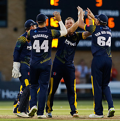 Glamorgan's Graham Wagg celebrates taking the wicket of Gloucestershire's Benny Howell with team-mates<br /> <br /> Photographer Simon King/Replay Images<br /> <br /> Vitality Blast T20 - Round 8 - Glamorgan v Gloucestershire - Friday 3rd August 2018 - Sophia Gardens - Cardiff<br /> <br /> World Copyright © Replay Images . All rights reserved. info@replayimages.co.uk - http://replayimages.co.uk