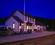 Historic Carcross Station on the White Pass and Yukon Route narrow guage railroad, Carcross, Yukon Territory, Canada.