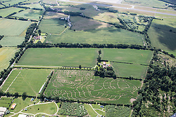 © Licensed to London News Pictures. 09/07/2015. York, UK. Picture shows farmer Tom Percy. Farmer Tom Percy has carved a giant image of Thunderbird 2 out of an 18 acre field of Maze to celebrate 50 years of Thunderbirds (1965-2015). Jamie Anderson son of Thunderbirds creator Gerry Anderson was at the maze today to help Tom launch this years master piece. Photo credit : Andrew McCaren/LNP