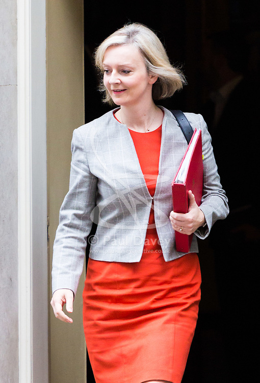 London, October 24 2017. Chief Secretary to the Treasury Liz Truss leaves the UK cabinet meeting at Downing Street. © Paul Davey