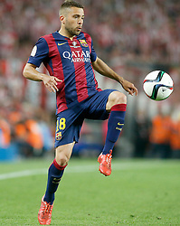 30.05.2015, Camp Nou, Barcelona, ESP, Copa del Rey, Athletic Club Bilbao vs FC Barcelona, Finale, im Bild FC Barcelona's Jordi Alba // during the final match of spanish king's cup between Athletic Club Bilbao and Barcelona FC at Camp Nou in Barcelona, Spain on 2015/05/30. EXPA Pictures © 2015, PhotoCredit: EXPA/ Alterphotos/ Acero<br /> <br /> *****ATTENTION - OUT of ESP, SUI*****