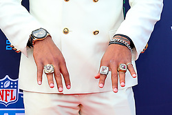 April 26, 2018 - Arlington, TX, U.S. - ARLINGTON, TX - APRIL 26:  Minkah Fitzpatrick shows his Rings on the Red Carpet prior to the 2018 NFL Draft at AT&T Statium on April 26, 2018 at AT&T Stadium in Arlington Texas.  (Photo by Rich Graessle/Icon Sportswire) (Credit Image: © Rich Graessle/Icon SMI via ZUMA Press)