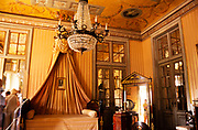 Interior of The National  Palace of Queluz,  Sintra, near Lisbon, Portugal -  bedroom furniture and room decoration