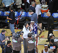 Cleveland's LeBron James is interviewed after the game..The Cleveland Cavaliers defeated the Boston Celtics 88-77 in Game 4 of the Eastern Conference Semi-Finals at Quicken Loans Arena in Cleveland.