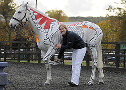 © licensed to London News Pictures. LOCATION, UK  21/10/09. Champion horserider Gillian Higgins teaches horse anatomy by painting the inside of a horse on the outside of a horse. Pictured here with horse KITOS. Please see special instructions for usage rates. Photo credit should read STEPHEN SIMPSON/LNP