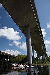 North America, United States, Washington, Bellevue, kayaking under highway bridge in Mercer Slough Nature Park.