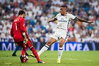 Real Madrid's player Mariano Diaz Mejia and Celta de Vigo's player Sergio Alvarez during a match of La Liga Santander at Santiago Bernabeu Stadium in Madrid. August 27, Spain. 2016. (ALTERPHOTOS/BorjaB.Hojas)