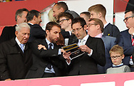 England manager Gareth Southgate (2nd left) looks on from the stand. Premier league match, Stoke City v West Ham Utd at the Bet365 Stadium in Stoke on Trent, Staffs on Saturday 29th April 2017.<br /> pic by Bradley Collyer, Andrew Orchard sports photography.