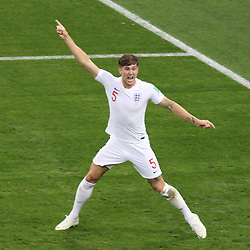 July 11, 2018 - Moscow, Russia - July 11, 2018, Moscow, FIFA World Cup 2018 Football, the playoff round. 1/2 finals of the World Cup. Football match Croatia - England at the stadium Luzhniki. Player of the national team John Stones. (Credit Image: © Russian Look via ZUMA Wire)