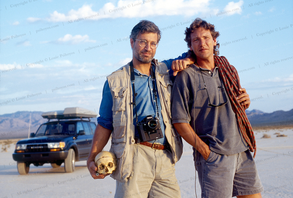 Louie Psihoyos (left) with Skull of Edward Drinker Cope author of Hunting Dinosaurs and John Knoebber.