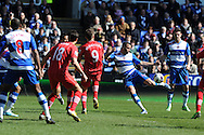 Reading's Hal Robson-Kanu © hits a volley at goal over the bar.  Barclays Premier league, Reading v Southampton at the Madejski stadium in Reading on Saturday 6th April 2013. pic by Andrew Orchard, Andrew Orchard sports photography,