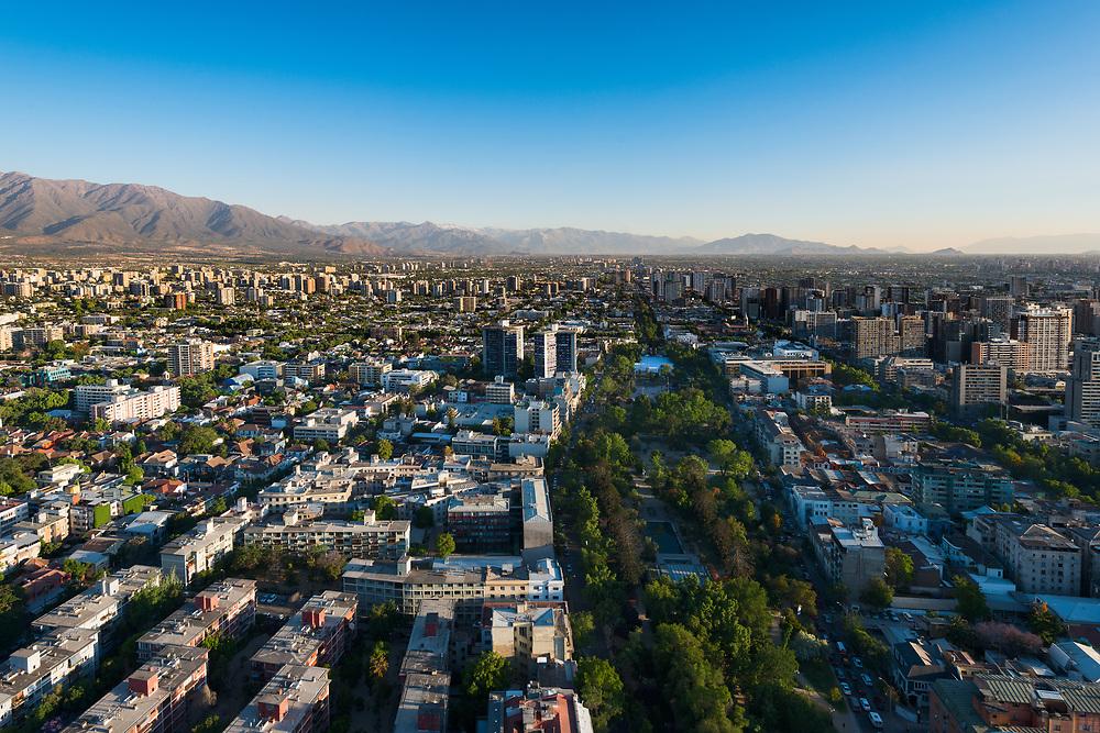 Aerial view of Bustamante Park at Providencia district in Santiago de Chile.