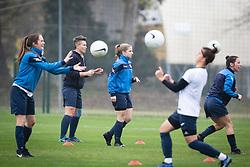 Players of ZNK Krim warming up before football match between ŽNK Pomurje and ŽNK Krim in 12th Round of Slovenska ženska nogometna liga 2020/21, on November 15, 2020 in TŠC Trate, Gornja Radgona, Slovenia. Photo by Blaž Weindorfer / Sportida