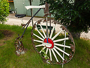 Hammers form spokes of a penny-farthing bicycle wheel. Hammer Museum, Haines, Alaska, USA