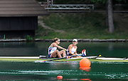 Bled, SLOVENIA, USA W2- Bow.  Zsuzsanna FRANCIA and Erin CAFARO, during the semi final of the 1st FISA World Cup. Second day. Rowing Course. Lake Bled.  Saturday  29/05/2010  [Mandatory Credit Peter Spurrier/ Intersport Images]